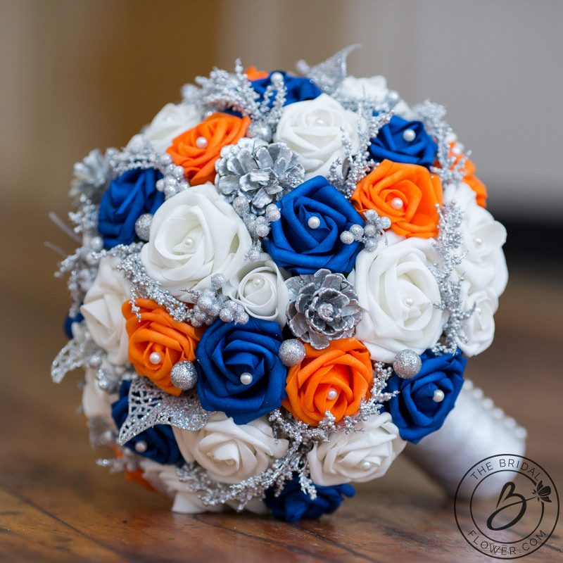 Royal Blue And Orange Winter Wonderland Themed Bouquet The Bridal