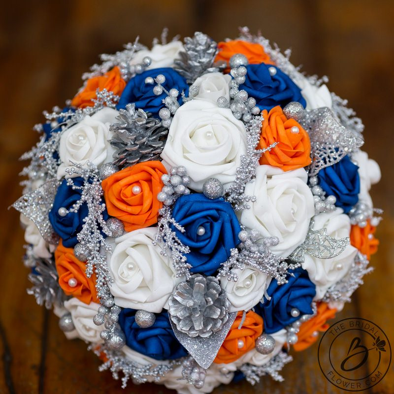 Royal Blue And Silver Wedding Flowers: Royal Blue And Orange Winter Wonderland Themed Bouquet