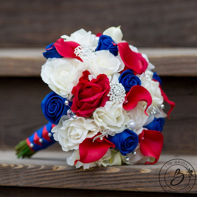 White And Red Wedding Flowers: Red, White, And Blue Patriotic Real Touch Wedding Bouquet