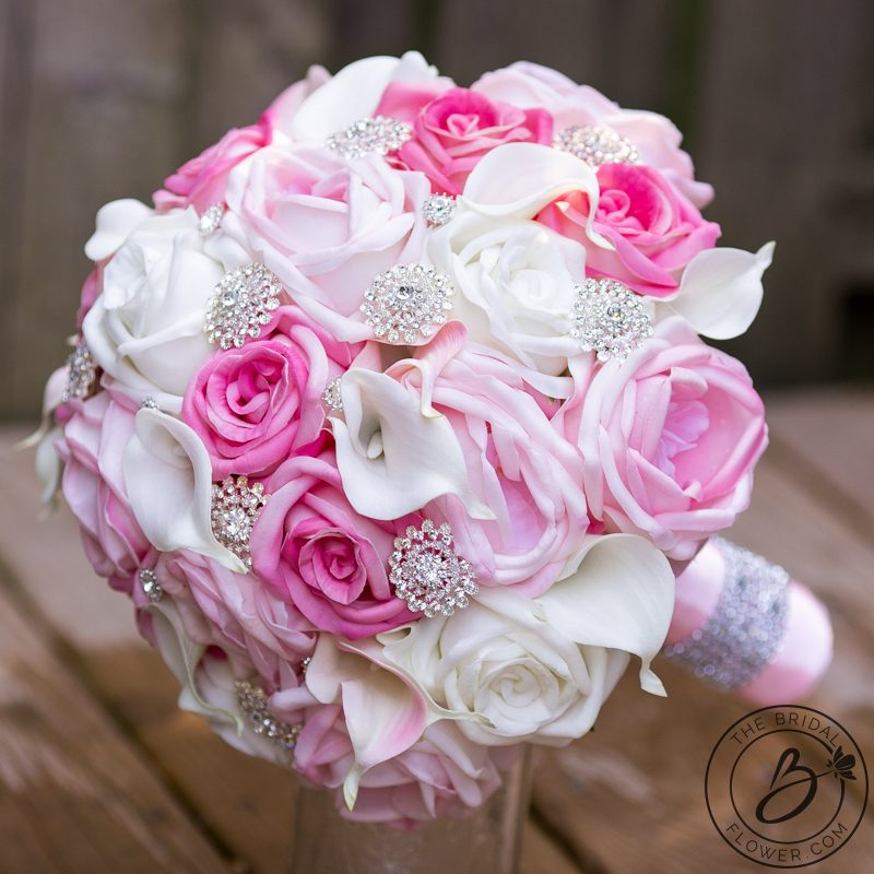 Shades of pink large wedding bouquet with silver brooches – The ...