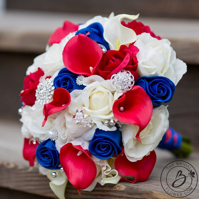 Red White And Blue Patriotic Real Touch Wedding Bouquet The