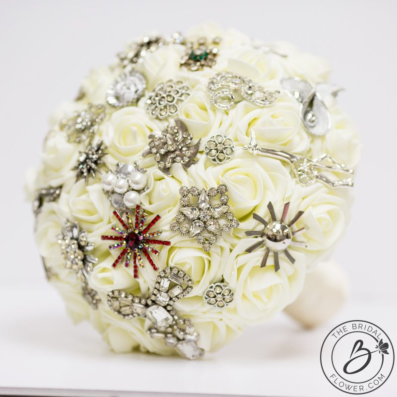 Ivory brooch bouquet with heirloom brooches – The Bridal Flower ...