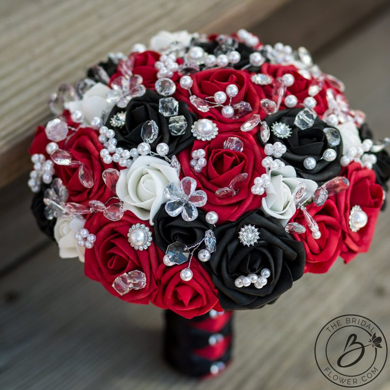 Red and black silk wedding bouquet set with jewels – The Bridal ...