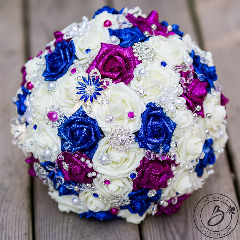 Royal blue and fuchsia pink jeweled wedding bouquet – The Bridal ...