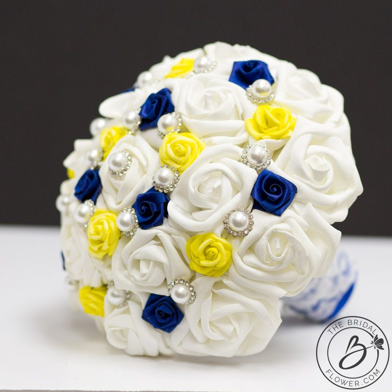 0ce835d28ec6c Royal blue and yellow Beauty and the Beast themed bouquet – The ...