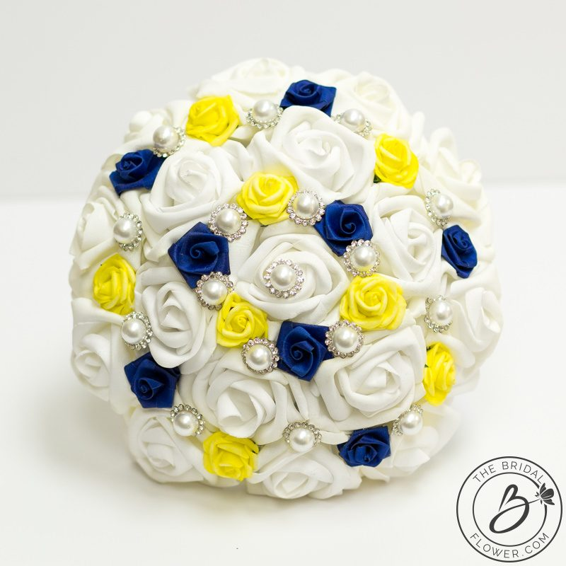 Royal Blue And Yellow Beauty And The Beast Themed Bouquet The