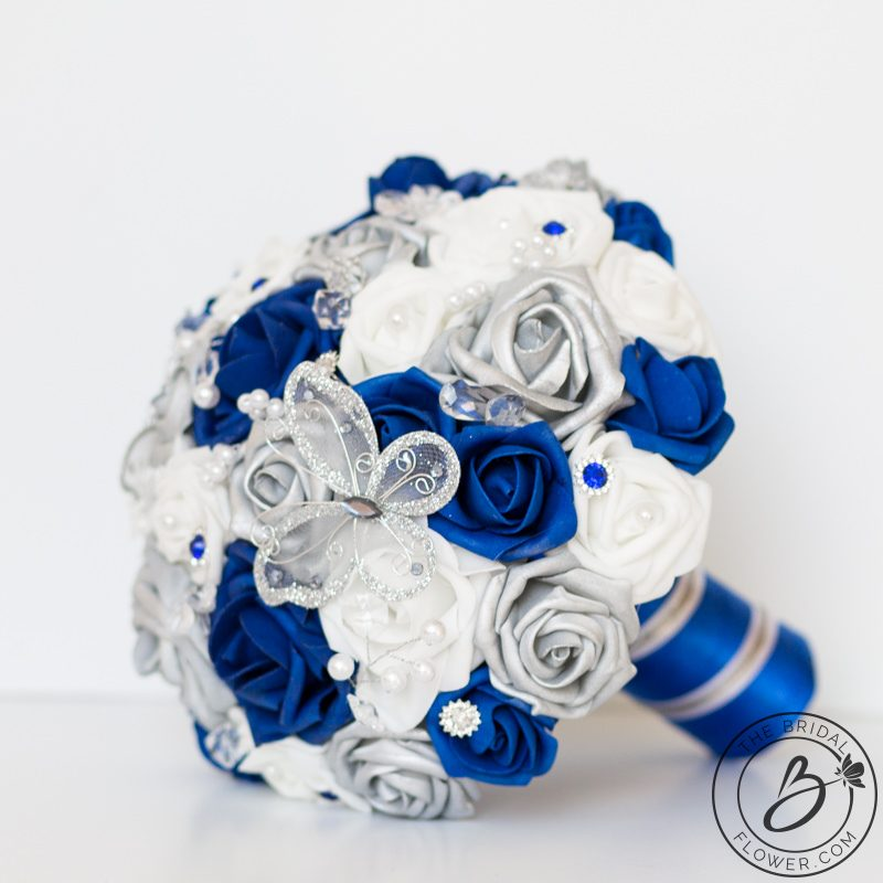 Royal Blue And Silver Erfly Wedding Bouquet