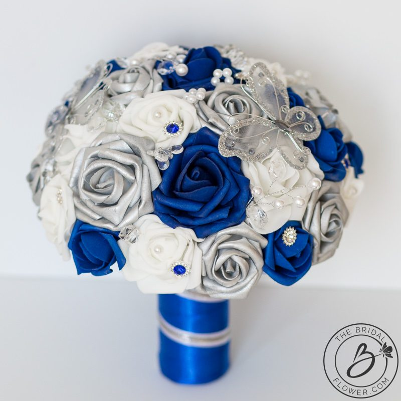 Royal Blue And Silver Wedding Flowers: Royal Blue And Silver Butterfly Wedding Bouquet