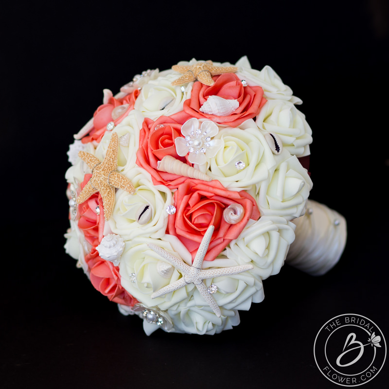 Beach Wedding Flowers: Coral Beach Wedding Bouquet With Shells And Starfish