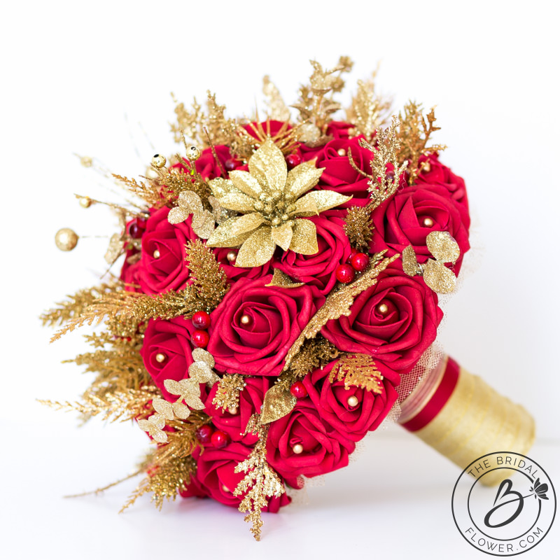 White And Gold Wedding Flowers: Red And Gold Glitter Winter Wedding Bouquet