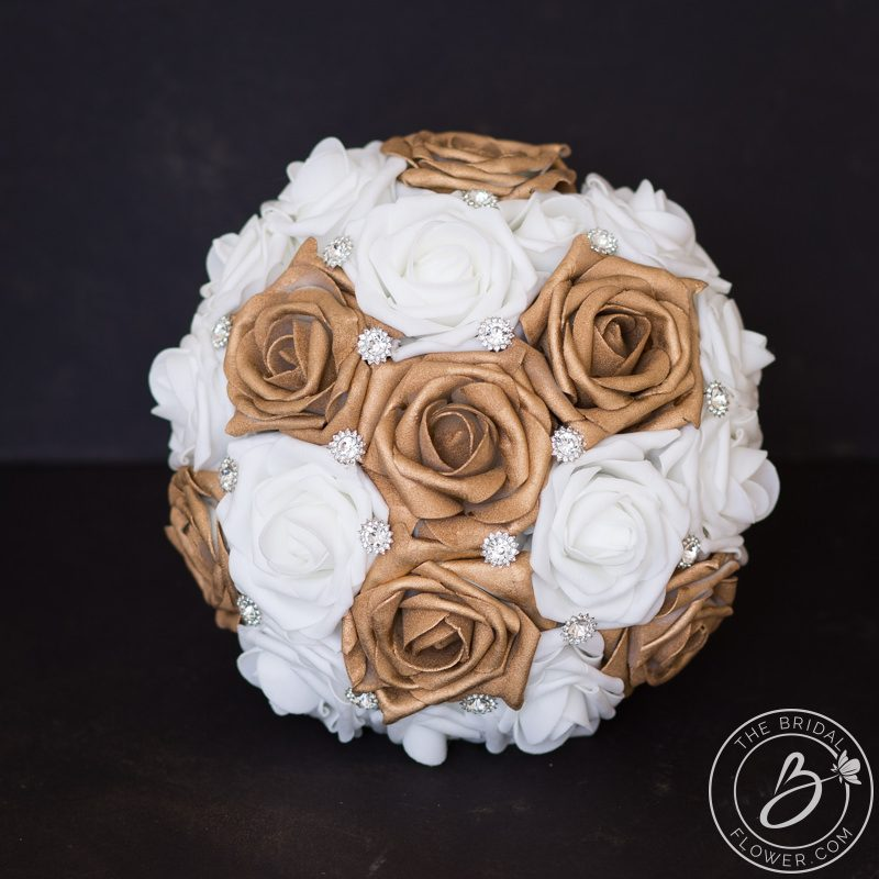 Rose gold wedding bouquet simple with silver gems – The Bridal ...