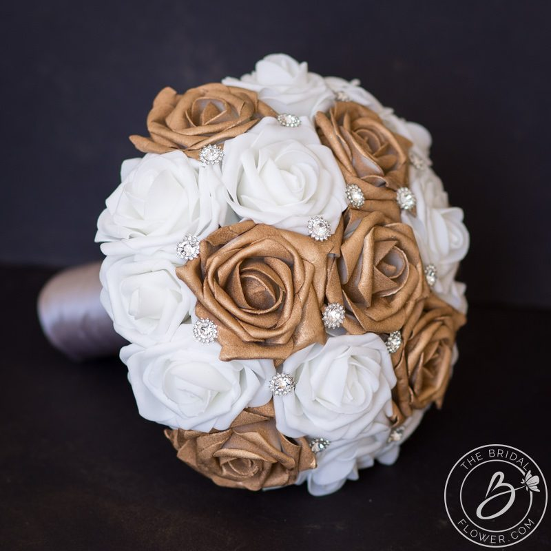 Rose Gold Wedding Bouquet Simple With Silver Gems The Bridal