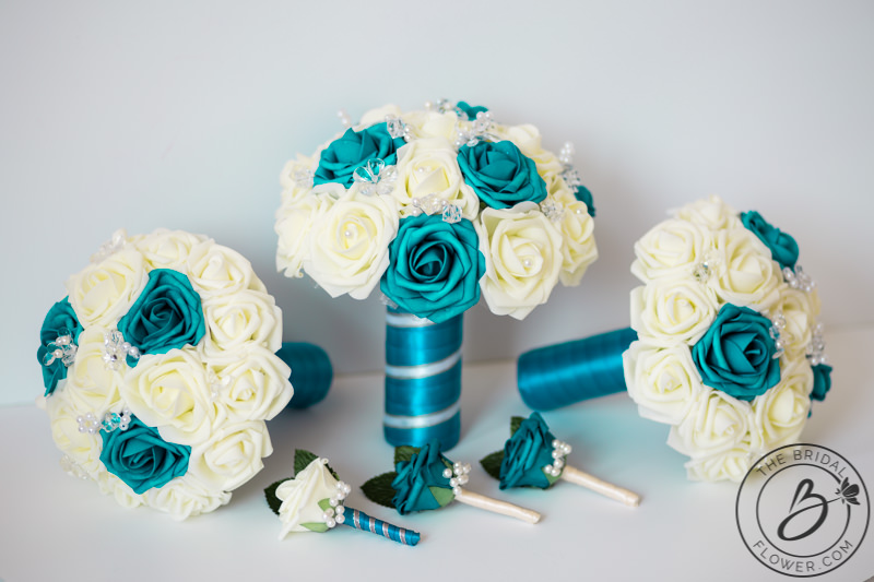 Teal and ivory wedding bouquet set with pearls – The Bridal Flower ...