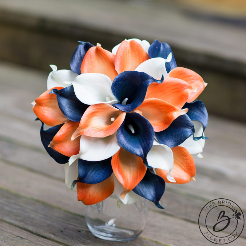 Navy Blue And Orange Simple Calla Lily Wedding Bouquet