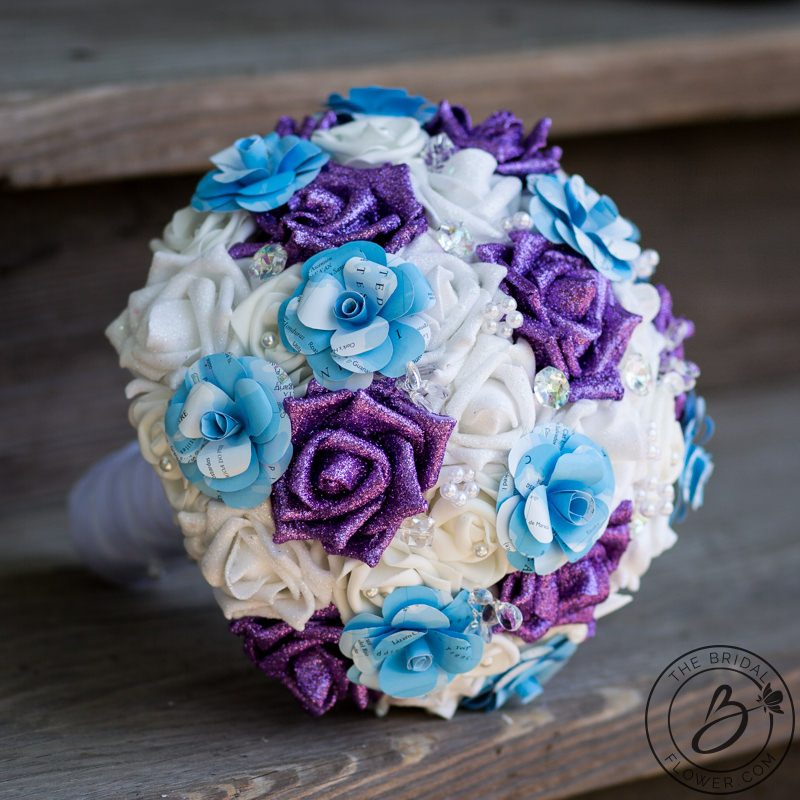 Purple glitter roses and blue paper map roses bouquet – The Bridal ...