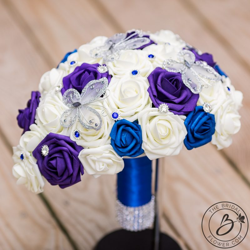 Blue And Purple Cascading Bouquet With Butterflies The Bridal