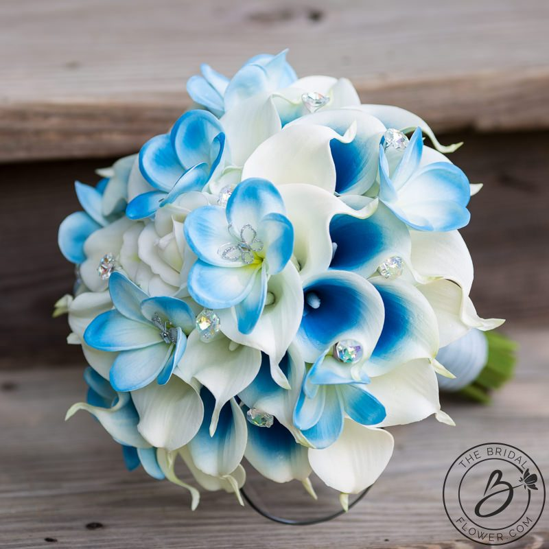 Cinderella inspired blue wedding bouquet with butterflies the calla lily and plumerias cinderella inspired wedding bouquet with sky blue real touch flowers iridescent crystals and small butterflies scattered mightylinksfo