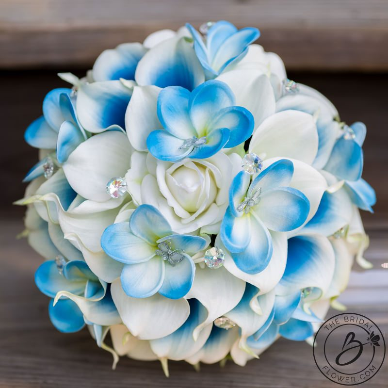 Cinderella inspired blue wedding bouquet with butterflies – The ...