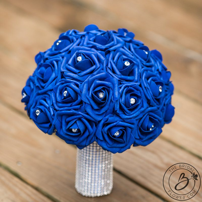 Royal blue silk flower bouquet with sparkle – The Bridal Flower ...