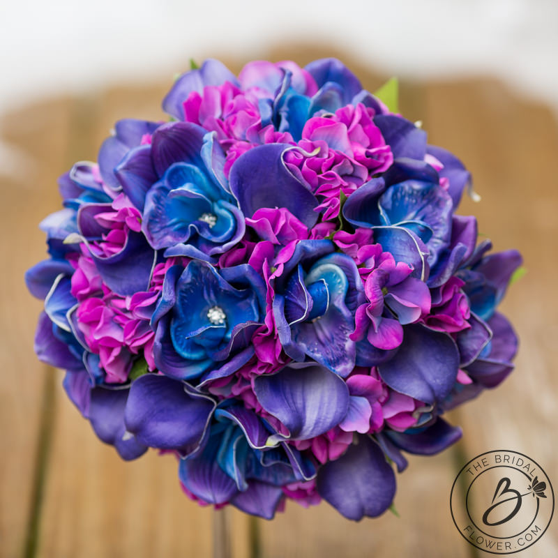 Purple And Blue Hydrangea And Galaxy Orchid Bouquet The