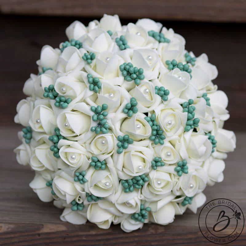 Mint green soft touch silk wedding bouquet – The Bridal Flower ...
