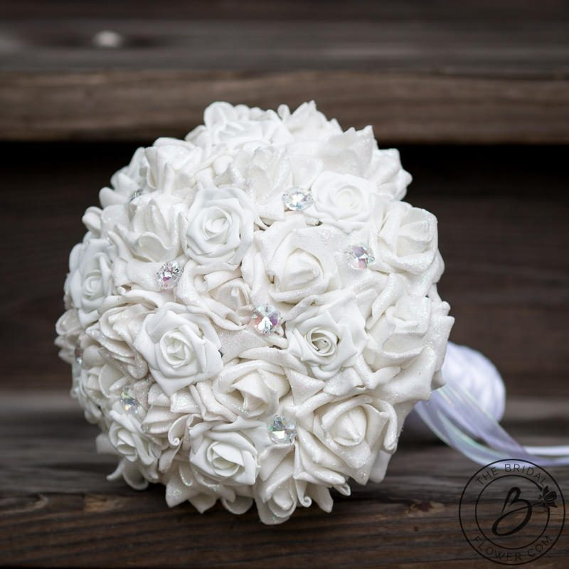 Fairydust iridescent white wedding bouquet with crystals – The ...