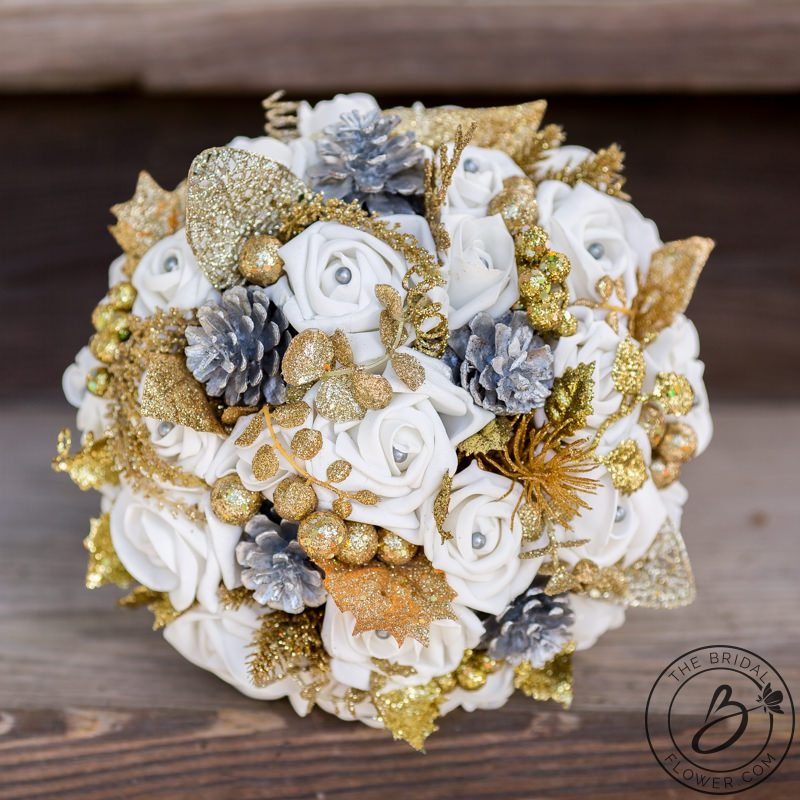 Silver And Gold Winter Wedding Bouquet Glitter Accents The Bridal