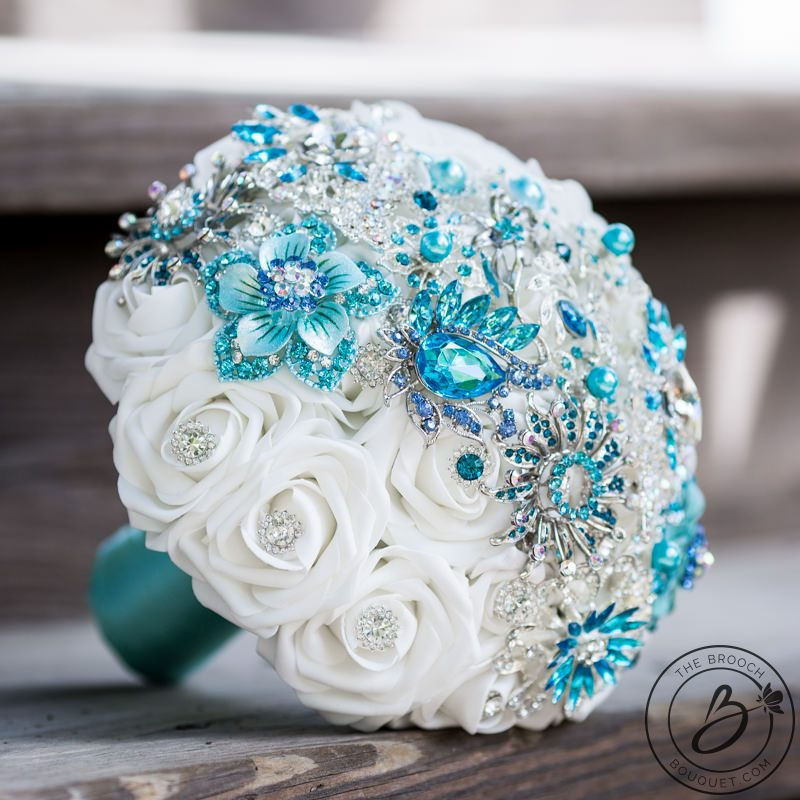 Turquoise Flowers For Wedding: Brooch Bouquet With Tiffany Aqua Blue And Turquoise Strip
