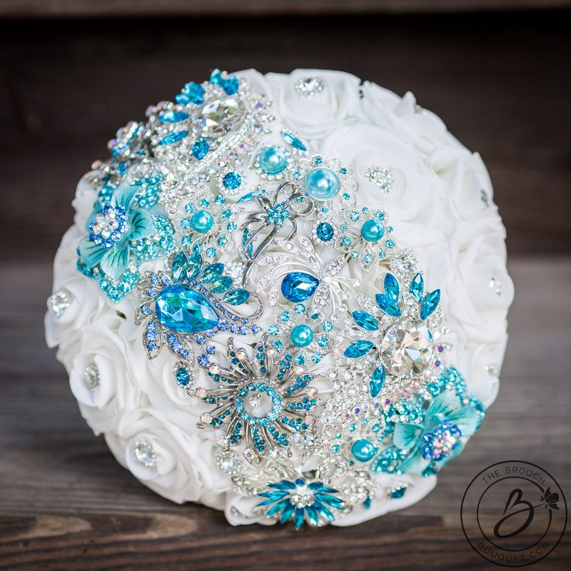 Brooch bouquet with tiffany aqua blue and turquoise strip – The ...
