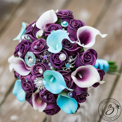 plum purple and blue jeweled real touch bouquet
