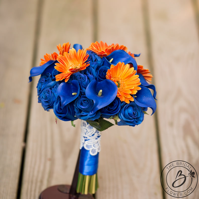 Royal Blue And Orange Roses Gerbera Daisies Bouquet The