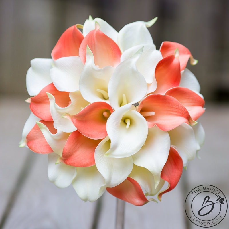 Coral And Ivory Simple Calla Lily Wedding Bouquet The