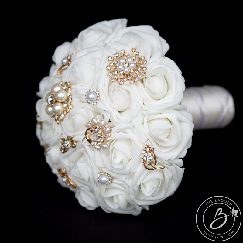 White And Gold Brooch Wedding Bouquet With Brooches The Bridal