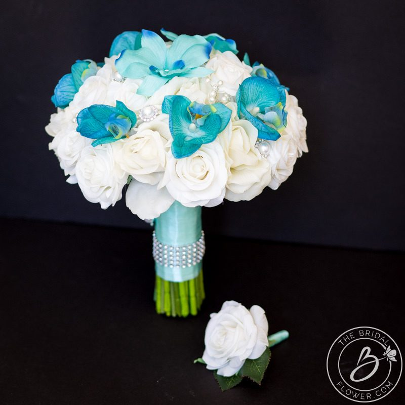 Ivory And Tiffany Aqua Blue Orchid Real Touch Wedding Bouquet