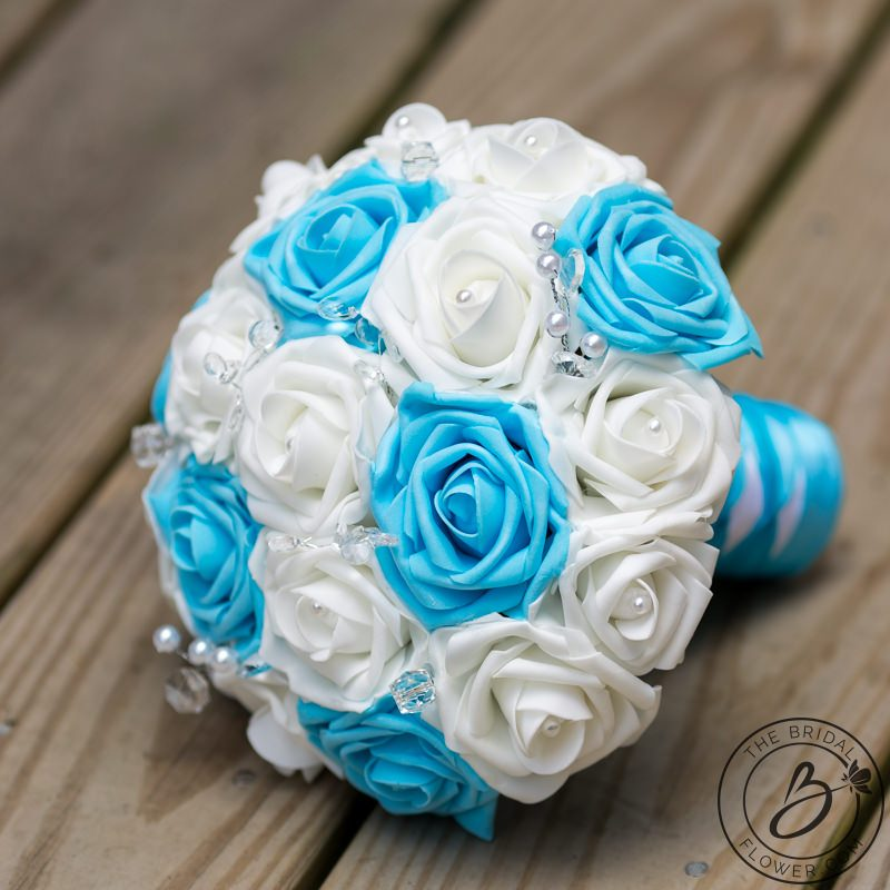 Light Blue Flowers For Weddings: Light Blue And White Wedding Bouquet With Crystals