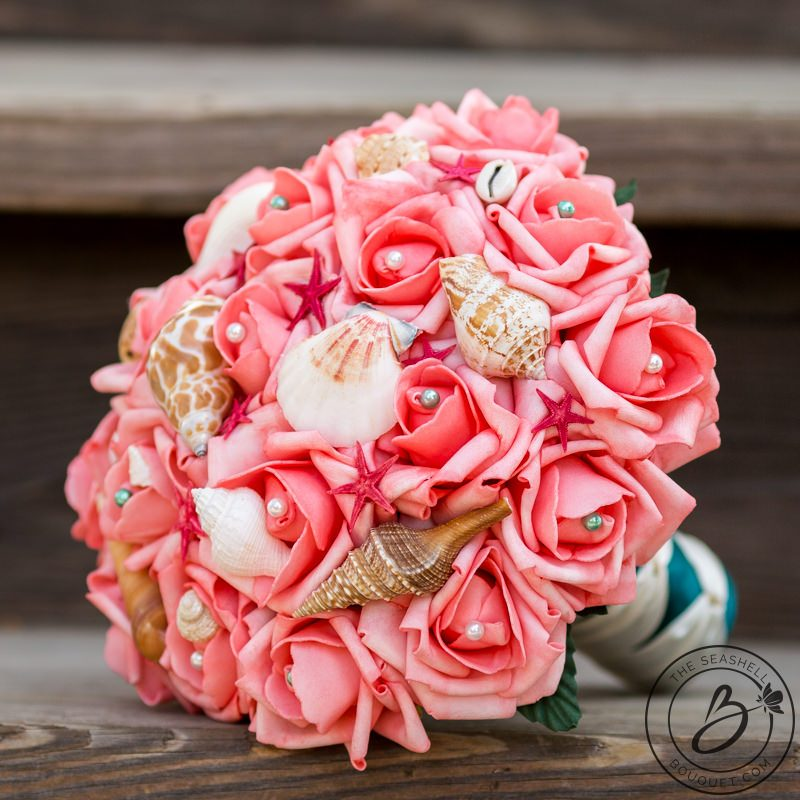 Coral Pink Seashell Bouquet With Red Starfish And Shells The