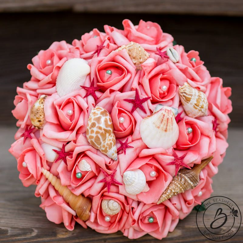 Coral And Pink Wedding Flowers: Coral Pink Seashell Bouquet With Red Starfish And Shells