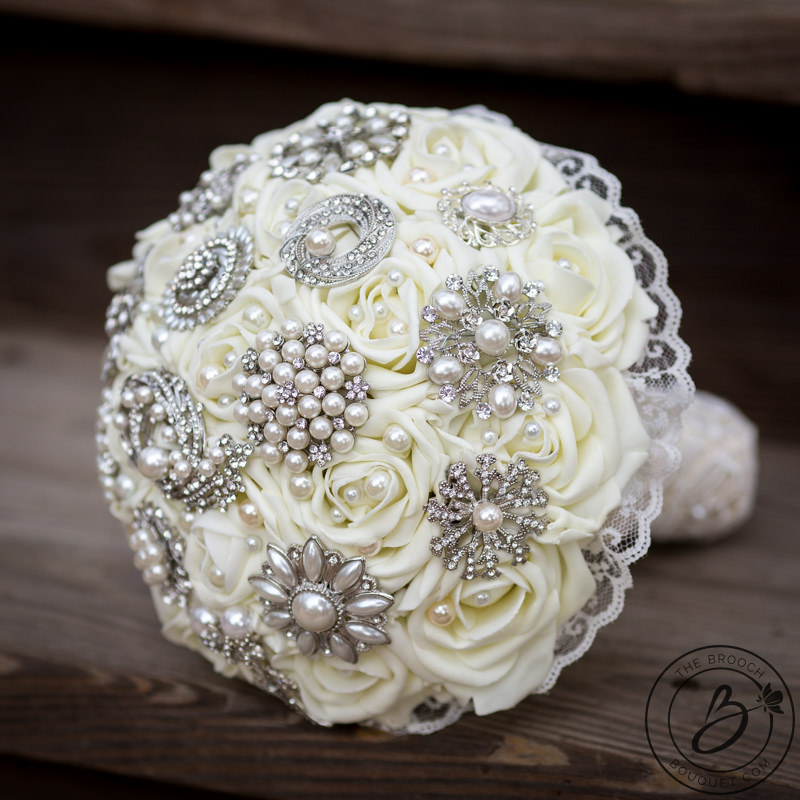 Vintage Ivory Brooch Bouquet With Pearls And Lace Accents The