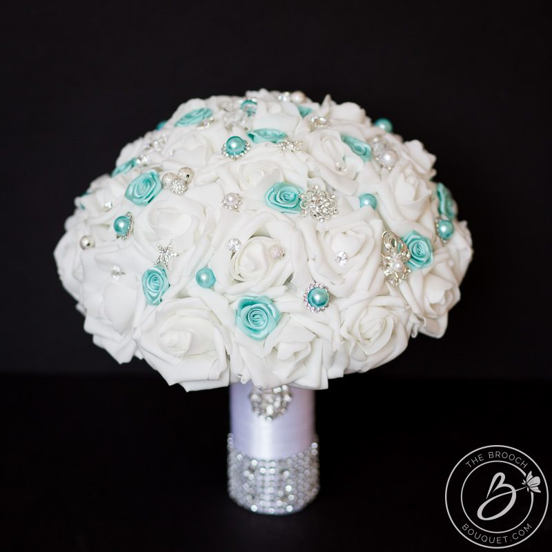 Large sparkly bouquet with aqua tiffany blue accents – The Bridal ...