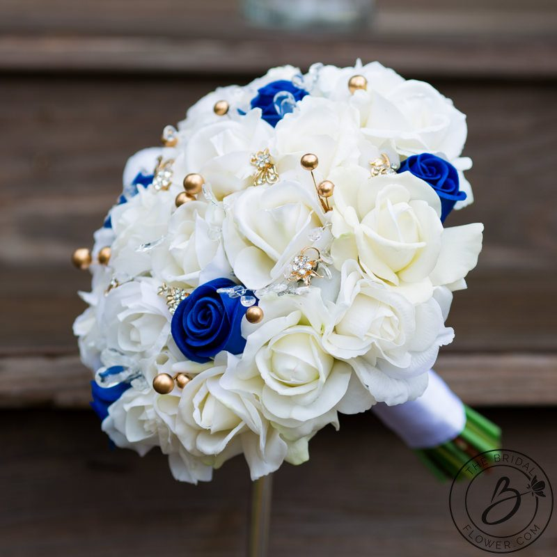 Gold Wedding Flowers: Royal Blue And Gold Pearls Real Touch Bouquet