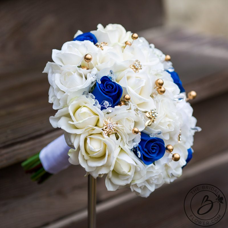 White And Gold Wedding Flowers: Royal Blue And Gold Pearls Real Touch Bouquet