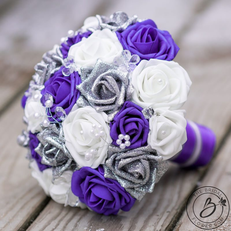 Purple Flower Wedding: Purple And Silver Glitter Rose Bouquet With Crystals