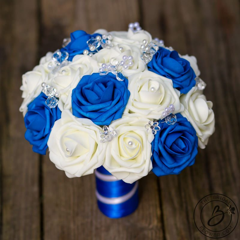 Royal Blue And White Wedding Bouquet With Crystals