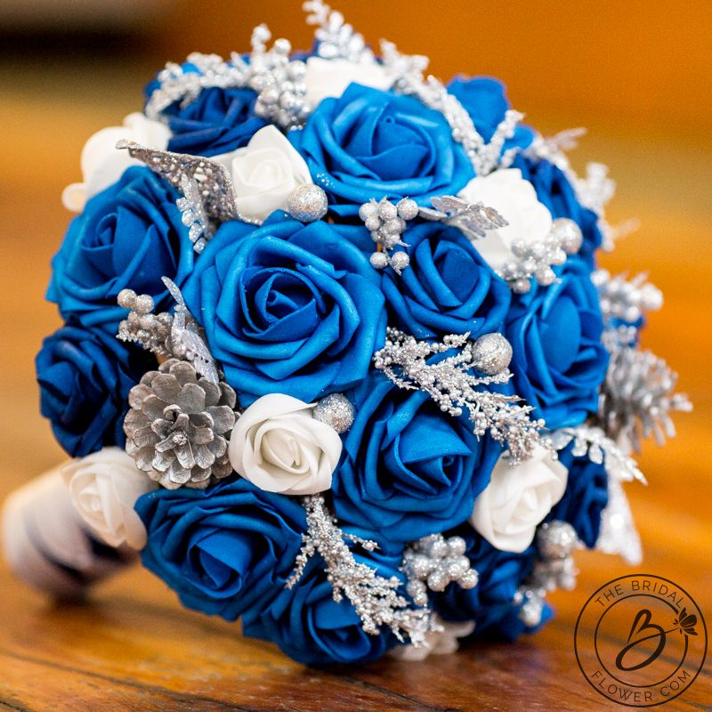 Royal Blue Winter Themed Faux Wedding Bouquet