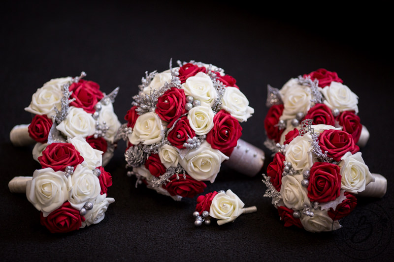 Red and white winter wedding bouquet set with silver accents the if youd like to purchase bouquets pictured large white bouquet can be purchased in medium mightylinksfo